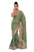 Shri Narayan Fashions Self Design Banarasi Georgette Saree(Green)