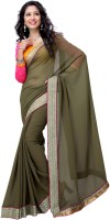 Suvastram Solid Fashion Poly Georgette Saree(Multicolor)