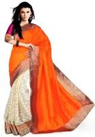 Suvastram Self Design Fashion Art Silk Saree(Orange, Beige)
