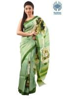 Tantuja Self Design Murshidabad Handloom Silk Saree(Green)