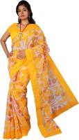 Kanheyas Printed Daily Wear Handloom Cotton Saree(Yellow)