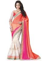 Saara Self Design, Solid Fashion Georgette Saree(White, Pink)