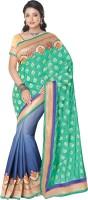 Saara Printed Fashion Jacquard Saree(Green, Blue)