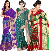 Its Banii Woven Banarasi Handloom Banarasi Silk Saree(Pack of 3, Purple, Green, Green)