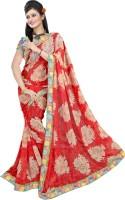 Khoobee Printed Fashion Poly Georgette Saree(Red, Beige)