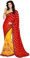 Jiya Self Design, Embroidered, Embellished Fashion Cotton Blend, Chiffon Saree(Red, Yellow)