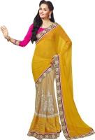 Ishin Embroidered Fashion Georgette Saree(Yellow)