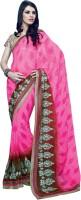 Valeska Printed Fashion Poly Georgette Saree(Pink)