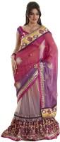 Bahubali Sarees Self Design Lehenga Saree Georgette Saree(Maroon)