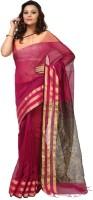 Kataan Bazaar Woven Maheshwari Handloom Cotton Saree(Pink)