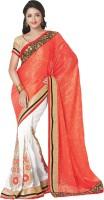 Saara Printed Fashion Chiffon Saree(Red, White)