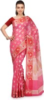 Bunkar Self Design Banarasi Cotton Saree(Pink, Multicolor)