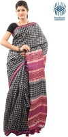 Tantuja Self Design Murshidabad Handloom Silk Saree(Black)