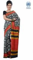 Tantuja Printed Fashion Handloom Silk Saree(Black)