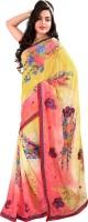 Jiya Self Design, Printed Fashion Poly Georgette Saree(Multicolor, Red)