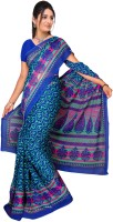 Jiya Self Design, Printed Fashion Chiffon Saree(Multicolor, Green, Blue)
