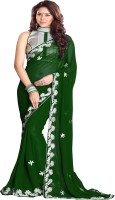 Sourbh Sarees Embroidered Fashion Synthetic Georgette Saree(Dark Green)