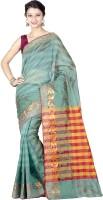 Chandrakala Striped Banarasi Banarasi Silk Saree(Green)