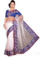 De Marca Printed Fashion Net Saree(White, Blue)