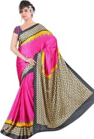 Khoobee Geometric Print Fashion Poly Crepe Saree(Pink)
