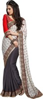 Khoobee Self Design Fashion Jacquard Saree(Grey, White)