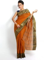 Purabi Woven Tant Handloom Cotton Saree(Brown)