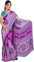 Khoobee Printed Fashion Poly Crepe Saree(Purple, Pink)