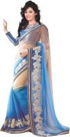 Krishna Fab Embroidered Bollywood Handloom Viscose Saree(Blue, Beige)
