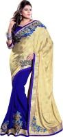 Mirchi Fashion Embroidered Fashion Jacquard Saree(Blue, Beige)