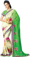 Vibes Embroidered Fashion Synthetic Georgette Saree(Green)