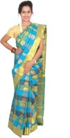 Thara Sarees Self Design Kanjivaram Art Silk Saree(Blue, Green)