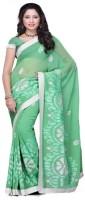 Meghdoot Self Design Fashion Chiffon Saree(Light Green)