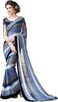 Vastrani Embroidered Fashion Georgette Saree(White, Blue)