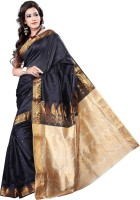Vastrakala Self Design Banarasi Art Silk Saree(Black)