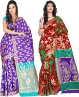 Indi Wardrobe Woven Banarasi Handloom Banarasi Silk Saree(Pack of 2, Blue, Red)