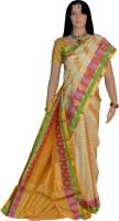 Lakshmi Lifestyle Self Design Kanjivaram Handloom Pure Silk Saree(Beige)