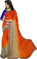 Khoobee Self Design, Embroidered, Embellished Fashion Poly Georgette Saree(Orange, Grey)