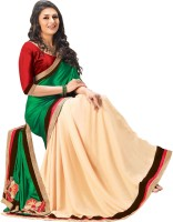Indianbeauty Solid Bollywood Satin, Pure Chiffon Saree(Beige, Green)