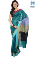 Tantuja Solid Tangail Handloom Silk Saree(Light Blue)