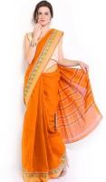 Javuli Woven Chettinadu Handloom Cotton Saree(Orange)