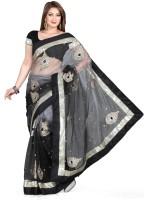 De Marca Solid Fashion Net Saree(Black, Silver)