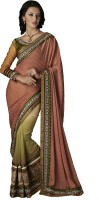 Desi Butik Self Design Fashion Crepe Saree(Pink)