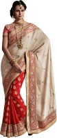 We Desi Self Design Fashion Chiffon Saree(Beige, Red)