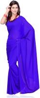 Surupta Solid Fashion Handloom Pure Georgette Saree(Blue)