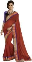Desi Butik Self Design Fashion Georgette Saree(Orange)