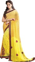 Khushali Self Design, Embroidered, Embellished Fashion Georgette Saree(Yellow)