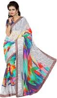 Patankar Fab Printed Bollywood Synthetic Chiffon Saree(White)