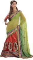 Bahubali Sarees Self Design Lehenga Saree Net Saree(Green)
