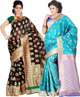 Its Banii Woven Banarasi Handloom Banarasi Silk Saree(Pack of 2, Black, Blue)