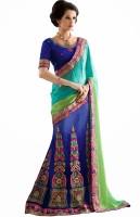 Aasvaa Self Design Lehenga Saree Jacquard Saree(Blue)